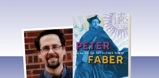 "book cover of ""Peter Faber: A Saint for Turbulent Times"" and photo of author Jon M. Sweeney"