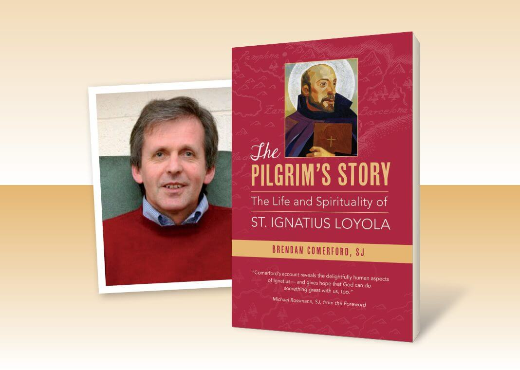 """cover of """"The Pilgrim's Story"""" by Brendan Comerford, SJ (pictured)"""