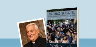 """""""Walking with Ignatius"""" by Arturo Sosa, SJ - book cover and author photo"""