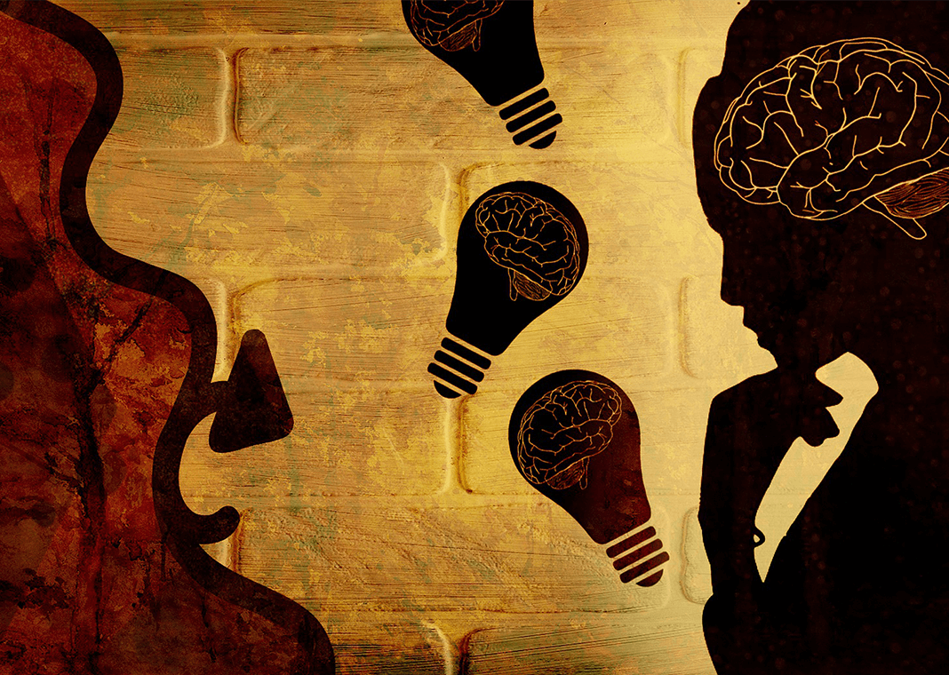 thought - abstract image of woman's brain and idea bulbs - image by chenspec from Pixabay