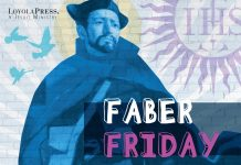 Faber Friday - text over image of Peter Faber as seen on Peter Faber: A Saint for Turbulent Times cover - book by Jon M. Sweeney