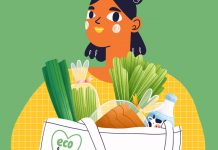 illustration of woman with eco-friendly shopping bag of food - by stolenpencil/iStock/Getty Images