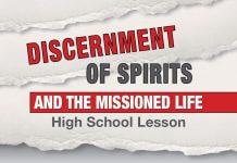Discernment of Spirits and the Missioned Life High School Lesson - text on ripped paper background