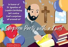 Surprise Party with a Twist for St. Ignatius of Loyola - illustration of St. Ignatius sitting at his desk