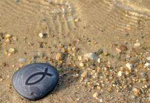 smooth stone with fish symbol on beach - Julie Hagan/Shutterstock.com